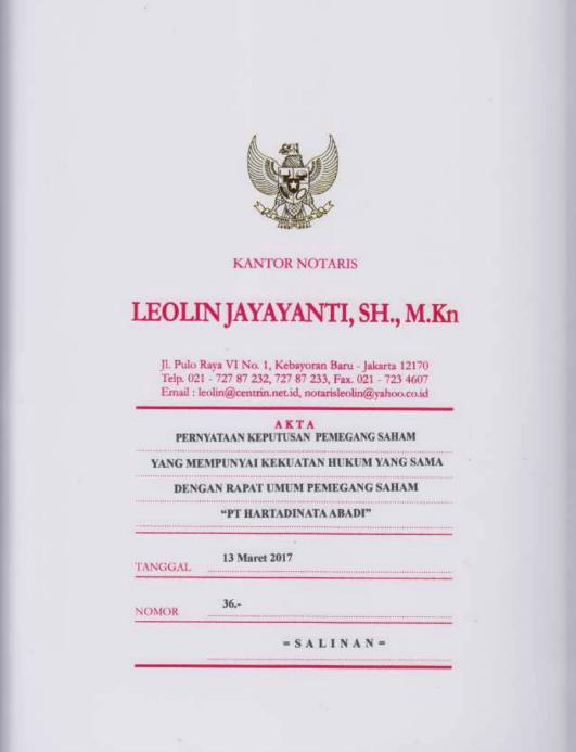 Akta Perubahan Anggaran Dasar Perseroan No. 27 tanggal 8 Oktober 2018