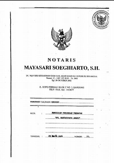 Akta Pendirian Perusahaan No. 11 tanggal 29 Maret 2004